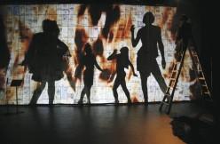 2Boys.TV, La corde raide, in collaboration with Alexis O'Hara and musician Radwan Ghazi Moumneh. Installation at Musée d'Art Contemporain de Montreal (Oct 2011). Photo by Shari Hatt